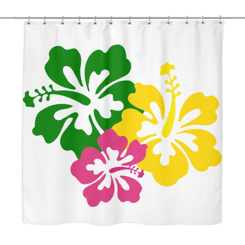 Big Hibicus Shower Curtain X1 1 Curtains