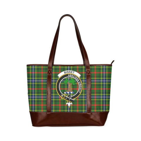 Bisset Tartan Clan Badge Tote Handbag Hj4 Handbags