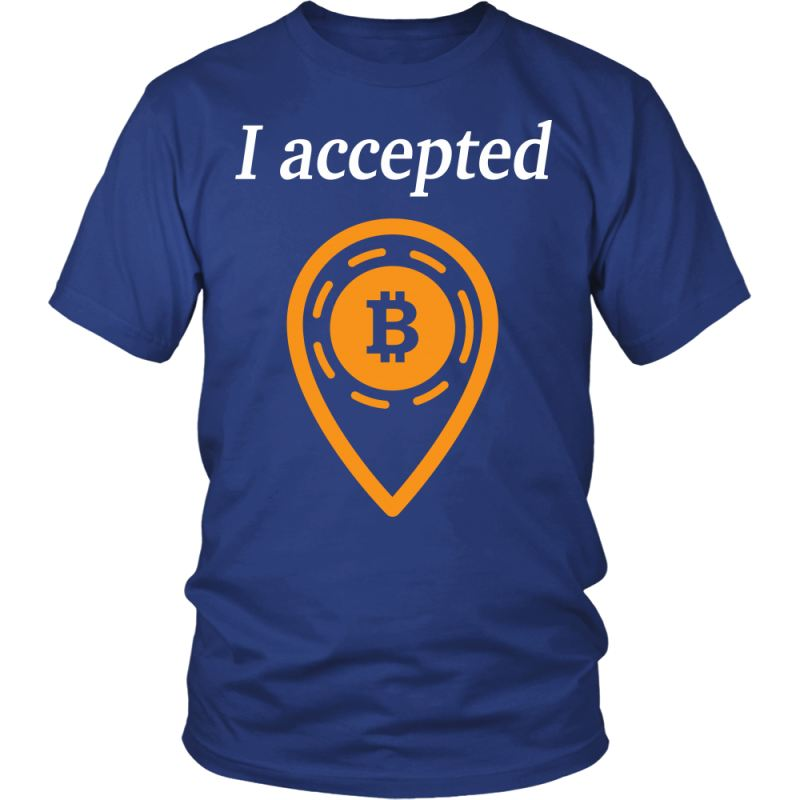 Bitcoin Accepted T-Shirts District Unisex Shirt / Royal Blue S