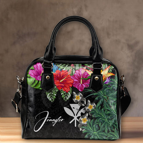 (Custom) Kanaka Maoli (Hawaiian) Shoulder Handbag - Hibiscus Turtle Tattoo Black Personal Signature A02