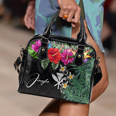 Image of (Custom) Kanaka Maoli (Hawaiian) Shoulder Handbag - Hibiscus Turtle Tattoo Black Personal Signature A02