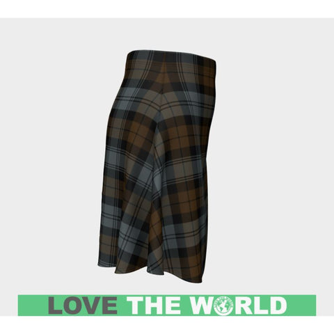 Tartan Skirt - Blackwatch Weathered Women Flared Skirt A9 |Clothing| 1sttheworld