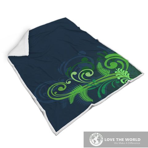 Special Edition of New Zealand Fern - Fern Fleece Blanket