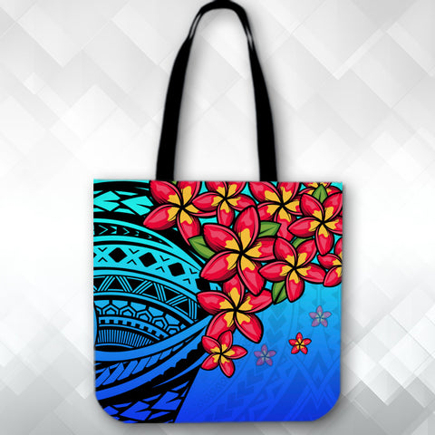 Image of (Custom) Polynesian Plumeria Blue Tote Bag Personal Signature A24