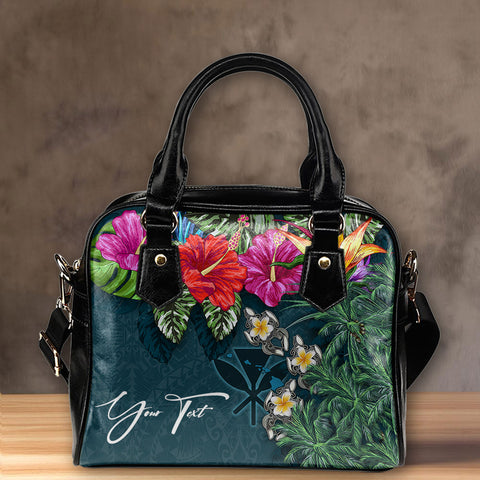 (Custom) Kanaka Maoli (Hawaiian) Shoulder Handbag - Hibiscus Turtle Tattoo Blue Personal Signature A02