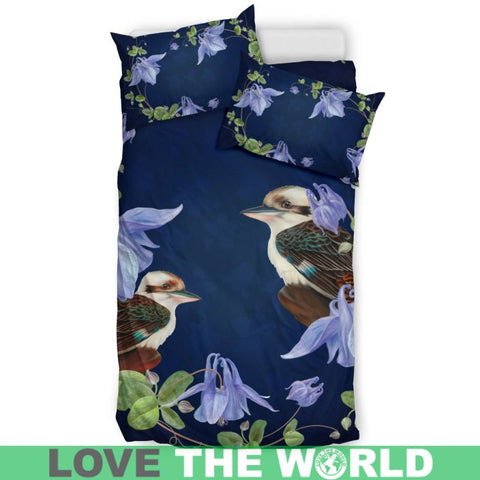 Bluebell Flower With Kookaburra Bedding Set H4 Bedding Set - Black / Queen/full Sets