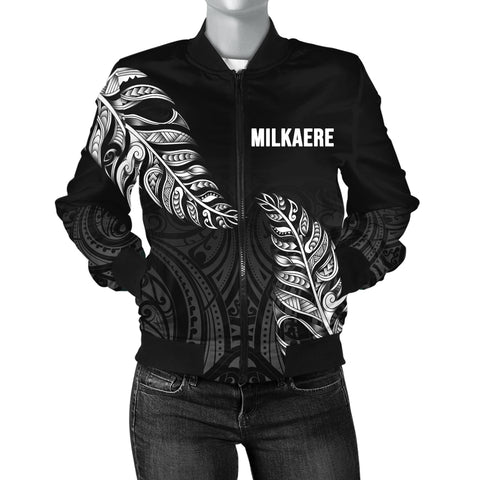 1stTheWorld Custom Aotearoa New Zealand - Maori Silver Fern Bomber Jacket Women Black A10