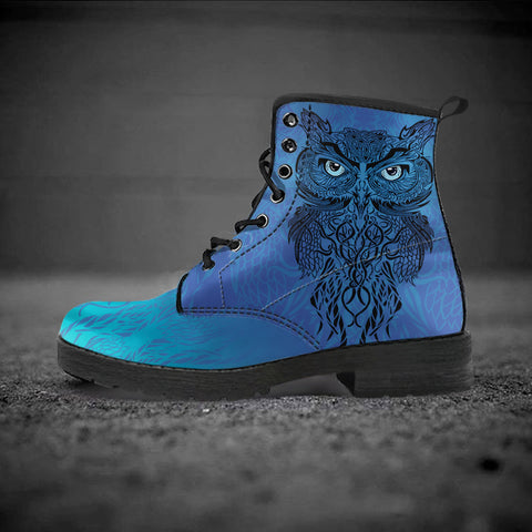celtic leather boots, celtic owl leather boots, celtic