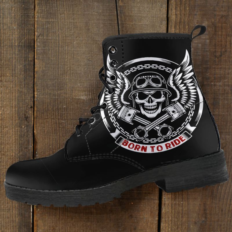 Born To Ride Motorcycle Leather Boots
