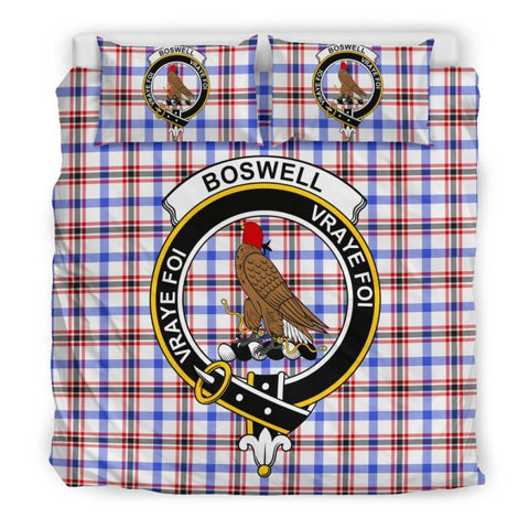 Image of Boswell Modern Clan Badge Tartan Bedding Set C19 Bedding Set - Beige / King Sets