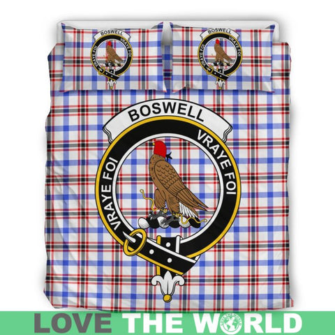 Boswell Modern Tartan Clan Badge Bedding Set C19 Bedding Set - Beige / King Sets