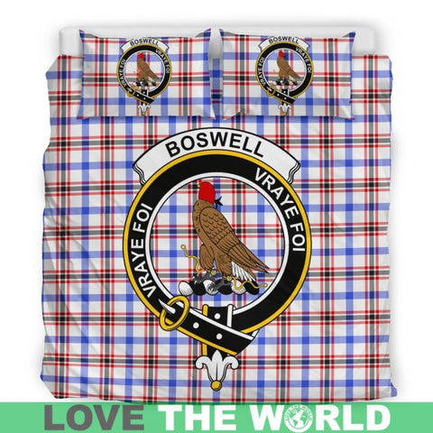 Image of Boswell Modern Tartan Clan Badge Bedding Set C19 Bedding Set - Beige / King Sets