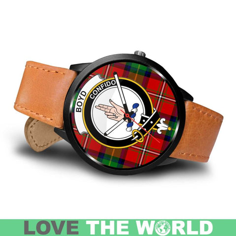 Boyd Modern Ancient Clan Badge Tartan Leather/steel Watch - NN5 Mens 40Mm / Brown Leather-Steel