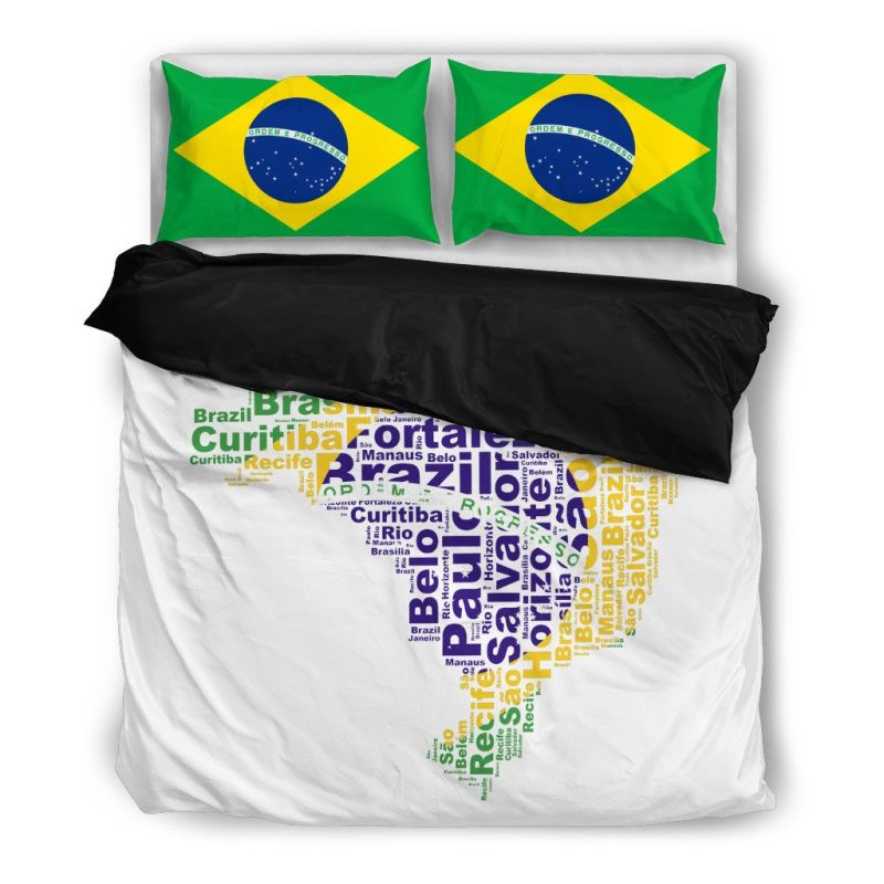Brasil Map Flag - Bedding Set A9 Bedding Set Black / Twin Sets