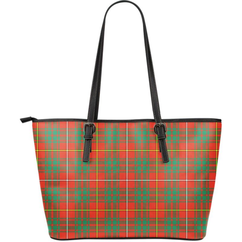 Bruce Ancient Tartan Large Leather Tote Bag Nl25 Totes