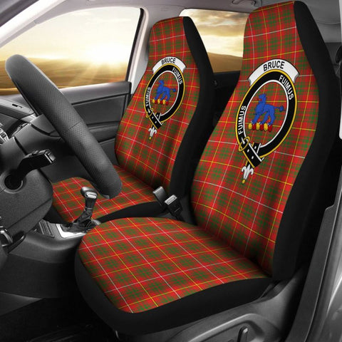 Bruce Clan Badge Tartan Car Seat Cover