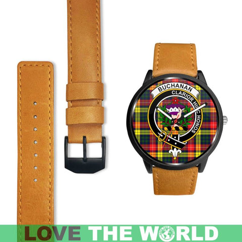 Buchanan Modern Clan Badge Tartan Leather/steel WATCH - NN5 Mens 40Mm / Brown Leather-Steel Watches