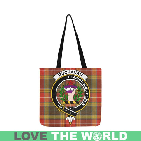 Image of Buchanan Old Set Weathered Clan Badge Tartan Reusable Shopping Bag - Hb1 Bags