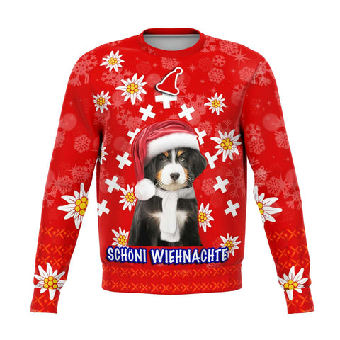 Christmas Edelweiss Switzerland Sweartshirt Bernese Mountain Dog | 1sttheworld