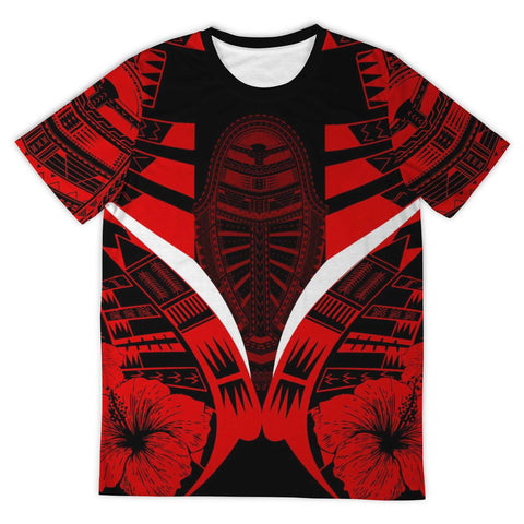 Polynesian Tattoo T Shirt Hibiscus Red - Front 2