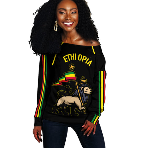Image of 1stTheWorld Ethiopia Off Shoulder Sweater Flag Lion Black A10