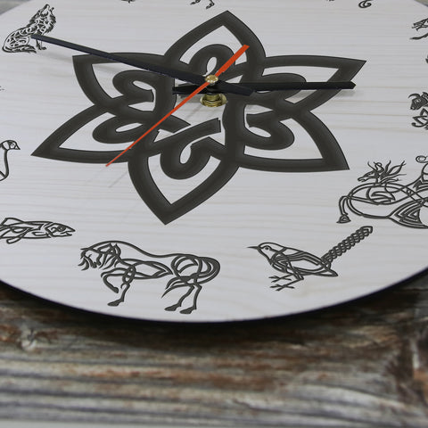 celtic wooden wall clock, celtic, wooden wall clock, celtic animals wooden wall clock, celtic animals