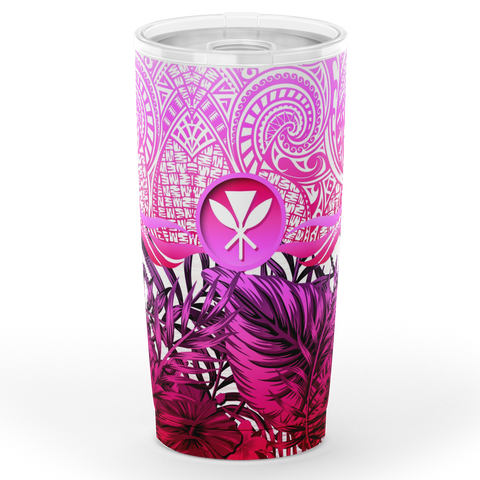 Kanaka Maoli (Hawaiian) Tumbler, Polynesian Palm Leaves Hibiscus Plumeria Flowers (Pink) | Love The World