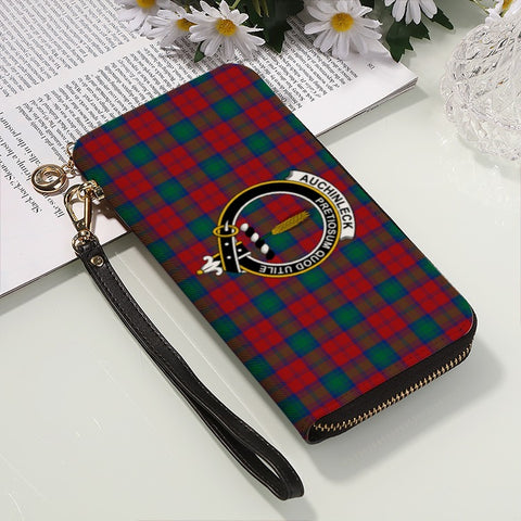 AUCHINLECK TARTAN CLAN BADGE ZIPPER WALLET HJ4