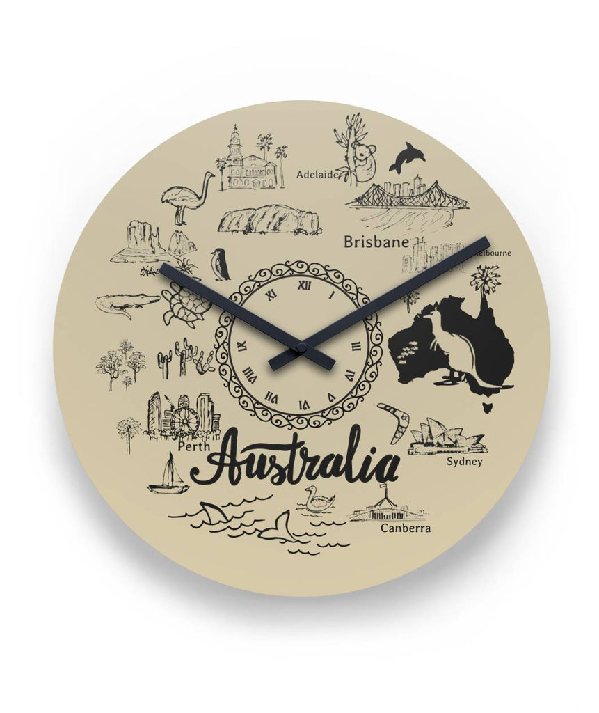 Australia National Symbols Black And White 11 Round Wall Clock K3