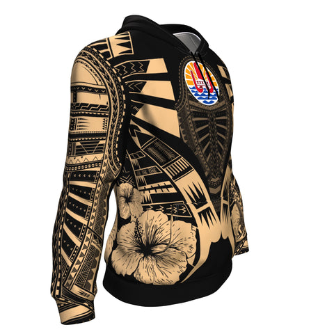Image of French Polynesia Tattoo Hoodie Hibiscus - Gold Color - Side 1