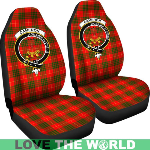 Image of Cameron Clan Badge Tartan Car Seat Cover Ha5