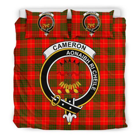 Image of Cameron Modern Clan Badge Tartan Bedding Set C19 Bedding Set - Beige / King Sets