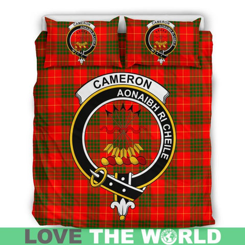 Image of Cameron Modern Tartan Clan Badge Bedding Set C19 Bedding Set - Beige / King Sets