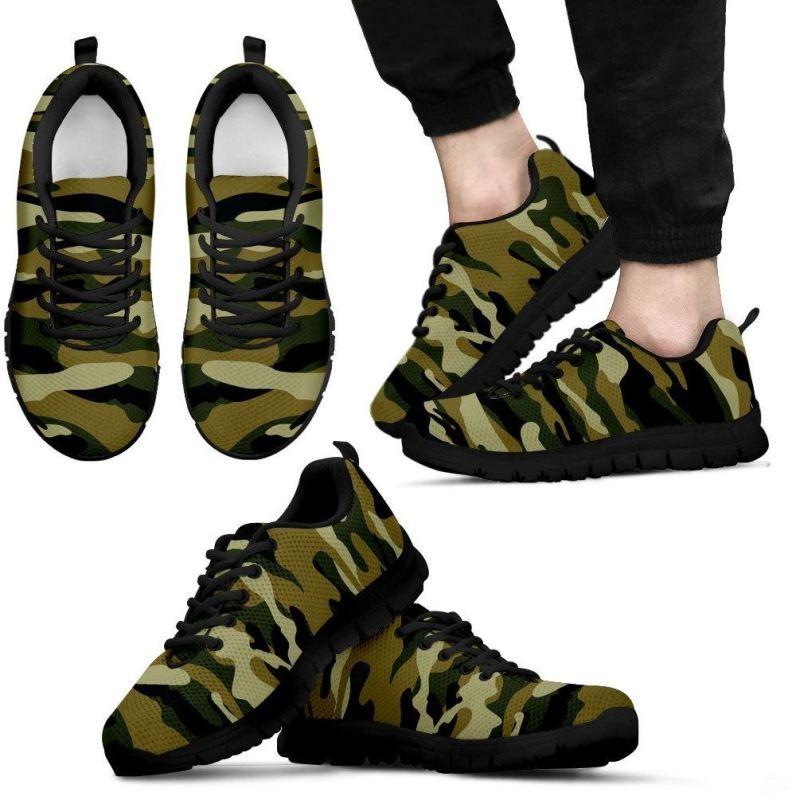 Camo Pattern Sneakers Mens Sneakers - Black / Us5 (Eu38)