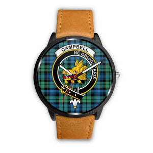 Campbell Ancient 01 Clan Badge Tartan Leather/steel WATCH - NN5 Mens 40Mm / Brown Leather-Steel Watches
