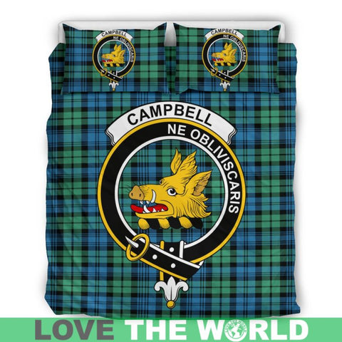 Image of Campbell Ancient 01 Tartan Clan Badge Bedding Set C19 Bedding Set - Beige / King Sets