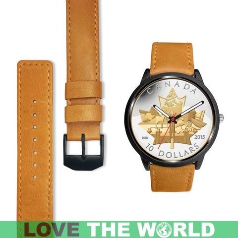 Canada Coin 02 Leather-Steel Watches Nl25 |Men and Women| 1sttheworld
