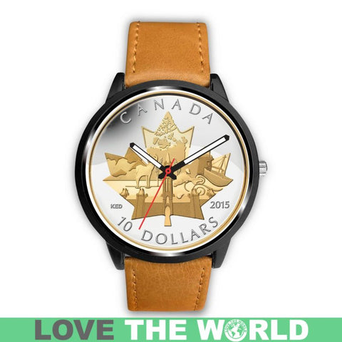 Canada Coin 02 Leather-Steel Watches Nl25 Mens 40Mm / White