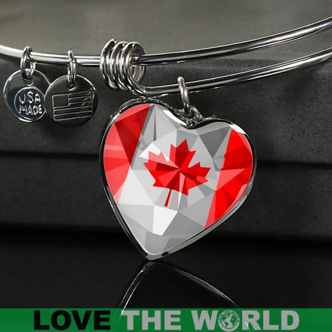 Canada Crystal Flag Heart-Shaped ( Necklace And Bangle) X7 Luxury Necklace (Silver) Jewelries
