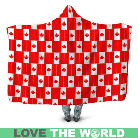 Canada Flag Pattern Hooded Blanket - Sd1 Blankets