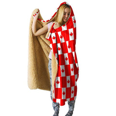 Canada Hooded Blanket - Flag Pattern - NN4