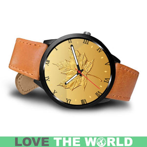 Canada Gold Maple Leaf Leather/Steel Watch H4