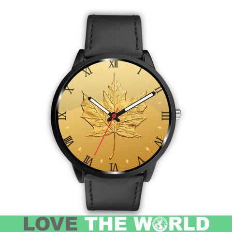 Canada Gold Maple Leaf Leather/Steel Watch H4 |Men and Women| 1sttheworld