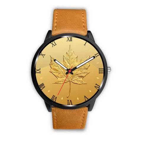 Canada Gold Maple Leaf Leather/steel Watch H4 Mens 40Mm / Brown Leather-Steel Watches