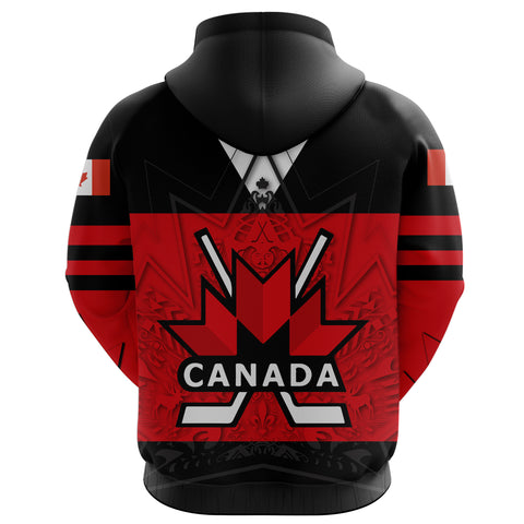 Image of Canada Hockey Zip Hoodie - Maple Leaf Red back | Canadian Hockey Ice
