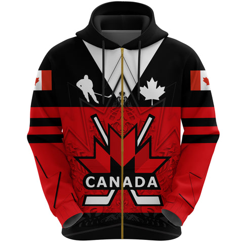 Canada Hockey Zip Hoodie - Maple Leaf Red front | Canadian Hockey Ice
