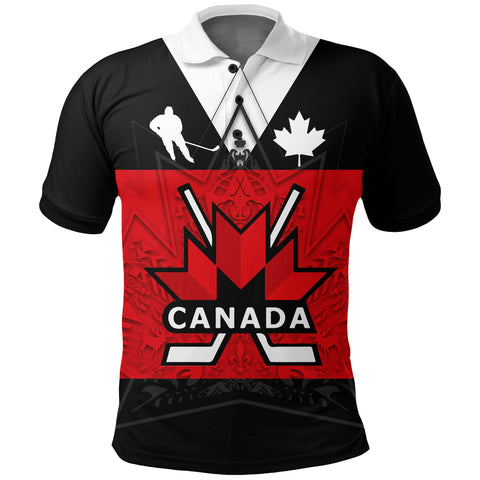 Image of Canada Hockey Polo Shirt - Maple Leaf Red | Love Canada | Clothing
