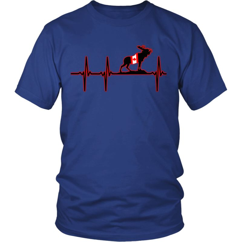 Canada In My Heartbeat T-Shirt J1 District Unisex Shirt / Royal Blue S T-Shirts