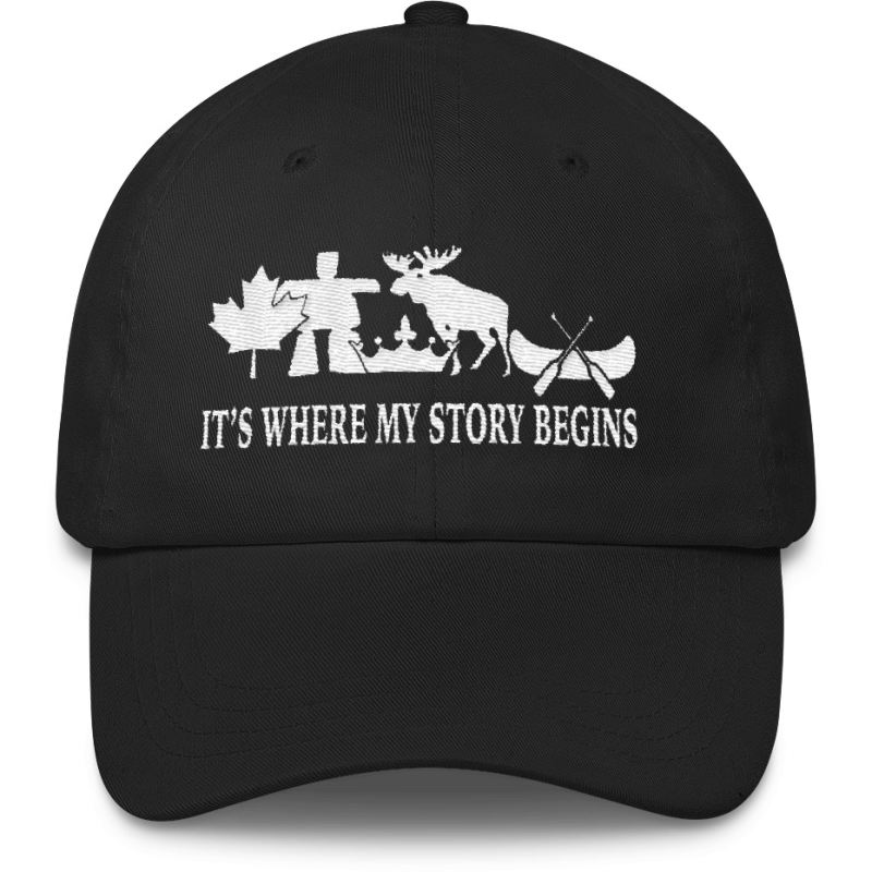 Canada Its Where My Story Begins Hat Black Caps