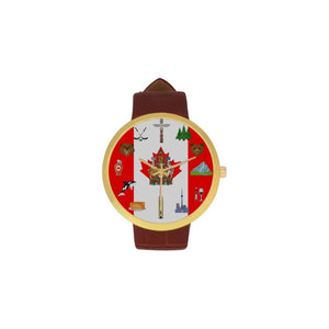 Canada National Symbols Luxury Watch Th7 One Size / Womens Golden Leather Strap Watch(Model 212)